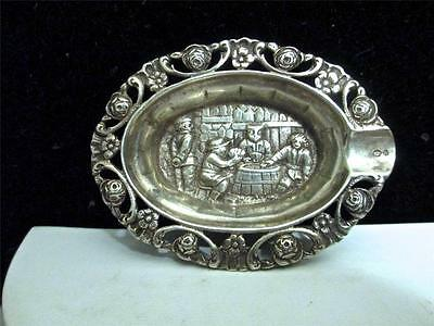 Vintage 830 Silver Repousse Detailed Jewelry/ Pill Ash Tray Signed