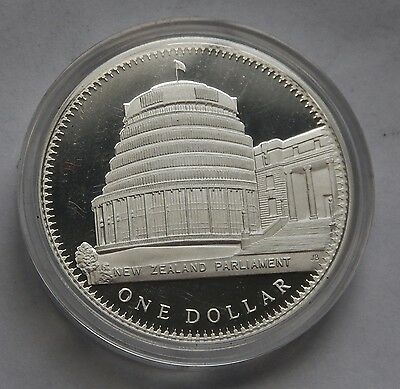New Zealand Dollar $1 1978 Parliament Building SILVER PROOF KM#47a