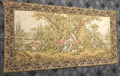 Antique French Wall Hanging Tapestry - 86 X 175  Cm