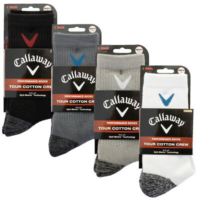 Callaway Golf 2017 Mens Tour Cotton Crew Socks Opti-Stretch Cushioned Breathable