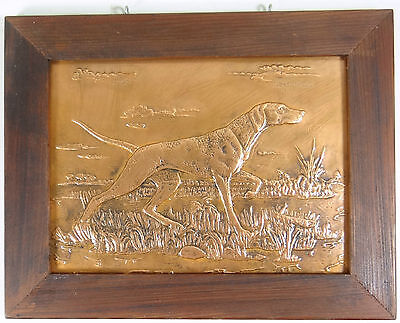 VINTAGE HUNTING POINTER DOG Flushing Retriever COPPER Relief 3D ART PICTURE 1960
