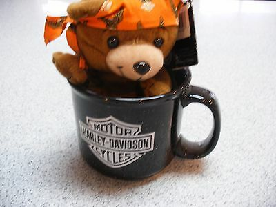 Harley Davidson Motorcycles  Coffee Soup Mug Cup Includes Bear with Do-rag
