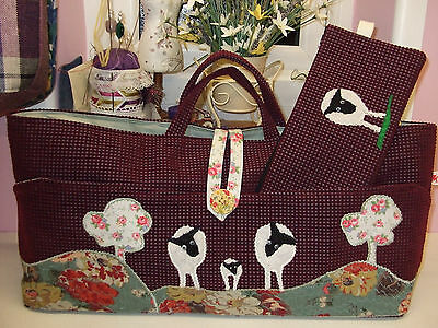 Knitting Bag Handmade Sheep Scene With Cath Kidston Fabric Applique New