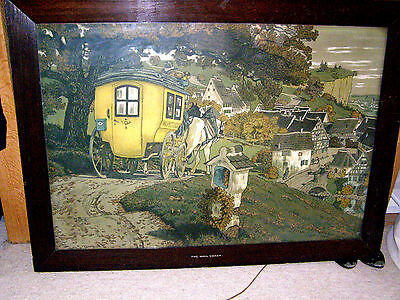 Beautiful and Large painting of mail coach in original frame signed