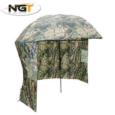 """NGT 45"""" Camo Umbrella Brolly with Tilt & Sip On Sides Waterproof Fishing Shelter"""