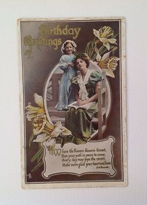 Old Postcard of an Edwardian Lady and Child Birthday Greetings, Vintage Fashions