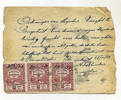 Document Avec 3 Timbres Taxes Quittances 28.11.1922