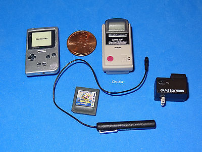 Miniature GAMEBOY Light + Pocket Printer + Charger Cable f. Barbie Tutti Skipper