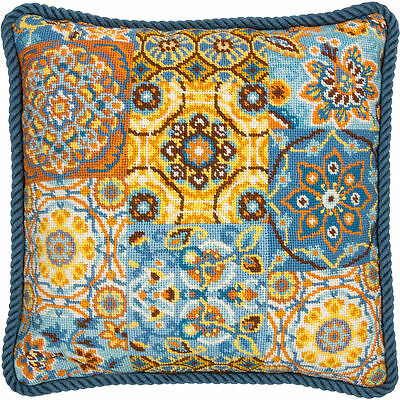 Patterns On Blue Dimensions Needlepoint Kit (20081) Cushion, Pretty