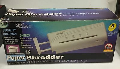 "Used Office 1000 Adjustable 1/4"" Strip Paper Shredder 5 Sheet Capacity w/ Box"