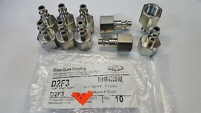 "Lot of -10- Dixon D2F3 Quick Coupling Steel, 1/4"" Industrial Nipple x 3/8"" FNPT"