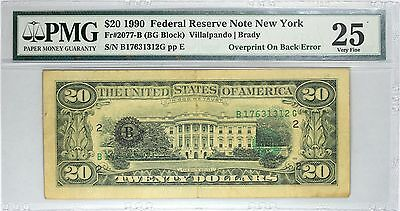 1990 $20 New York FRN, Overprint on Back Error, PMG 25, Fr#2077-B