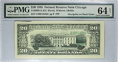 1995 $20 Chicago FRN, Overprint on Back Error, PMG 64 NET Ink on Edge, Fr#2082-G