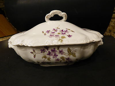 Antique Covered Casserole Carlsbad Austria Vegetable Dish Early 1900's Violets