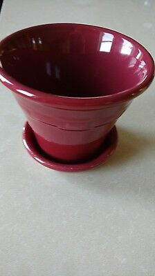 Longaberger Booking Only Rare small Flower Pot paprika red great condition!