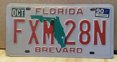1990 Collectible Florida License Plate/Tag FXM28N, Brevard Excellent Condition