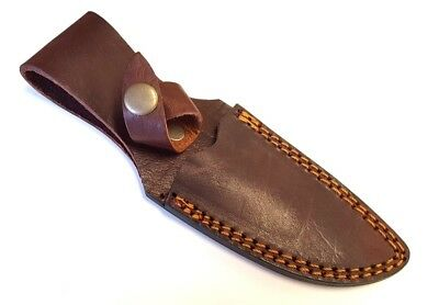 "4"" Brown Leather Belt Knife Sheath for Fixed Blade Hunting Knife"