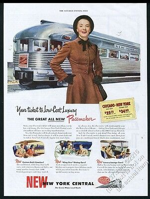 1947 New York Central railroad Pacemaker train photo vintage print ad