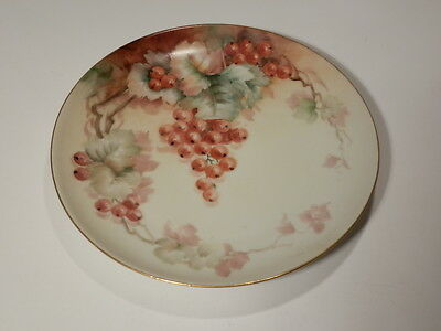 """Antique Mz Austria 6 7/8"""" Plate With Hand Painted Red Grapes Nice"""