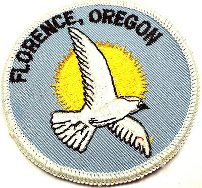 Vintage Florence OR Embroidered Patch Seagull Oregon Coast Travel Souvenir RARE