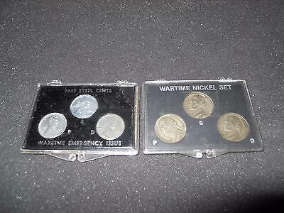 Wartime Nickel Set And Wartime 1943 Steel Cents Set