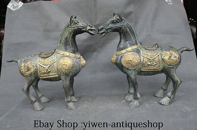 13'' China Bronze Gilt Animal Fengshui 12 Zodiac Year Horse Sculpture Pair