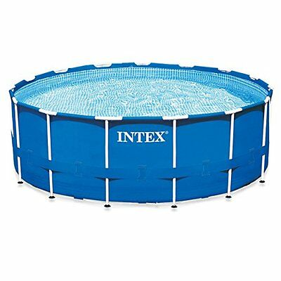 intex 15ft x 48in metal frame pool set with filter pump ladder ground cloth