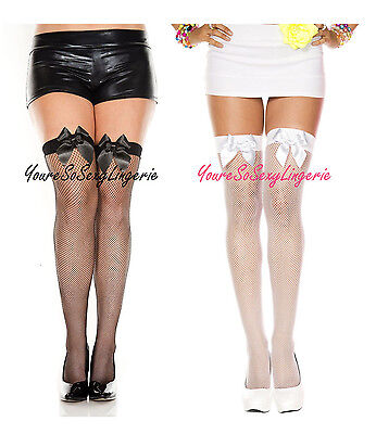 Plus Size FISHNET STOCKINGS Satin Bows OVER-THE-KNEE School Girl Thigh High