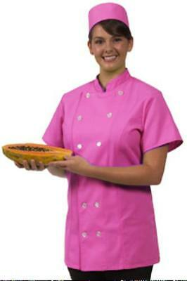 Chef Coat Jacket Small Raspberry 12 Button Front Female Fitted Uniform S/S New