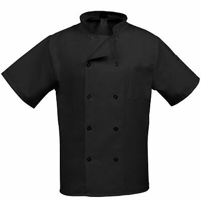 Fame 's Short Sleeve Chef coat -Black-Small, New