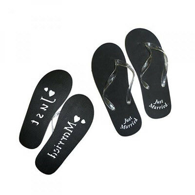 Black Mens Just Married Flip Flops with Sand Imprint SIZE UK 11-13 (X49A)