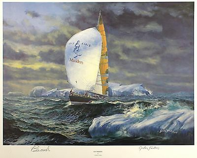 "GORDON FRICKERS ""Ice Maiden"" sail tracy EDWARDS LE SGD! SIZE:45cm x 56cm NEW"
