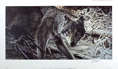 "GEOFF TAYLOR ""Freeze Frame"" wolf snow SIGNED ltd ed! SIZE:39cm x 68cm NEW RARE"