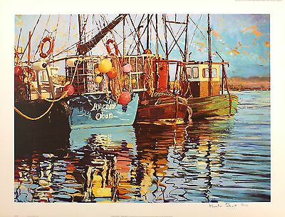 "MARTIN DECENT ""Calm Waters"" fishing boats SGD LTD ED! SIZE:52cm x 69cm NEW RARE"