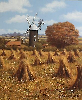 "BILL MAKINSON ""Autumn's Harvest"" windmill hay SGD LTD! SIZE:41cm x 35cm NEW RARE"