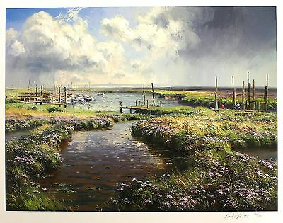 "REX PRESTON ""Passing Storm"" boats mooring SIGNED LTD ED SIZE:56cm x 70cm NEW"