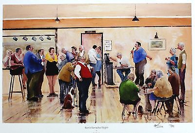 "DES BROPHY ""Ken's Karaoke Night"" pub singing SGD LTD ED SIZE:40cm x 55cm NEW"