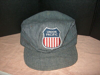 """Railroad Cap """"union Pacific"""" Xl Size Elastic In Band. Used But Not Abused"""