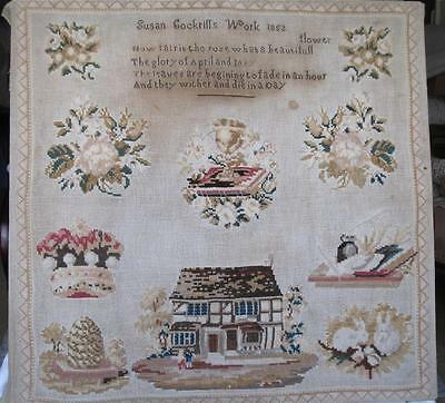 Antique Sampler by Susan Cockrills 1852- House-Bee Skep -Rabbits