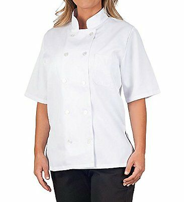 KNG Women's White Classic Short Sleeve Chef Coat S, New
