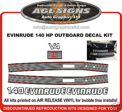 Evinrude 140 Hp Outboard Motor Decal Set , Reproductions