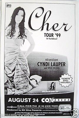 """Cher / Cyndi Lauper """"do You Believe Tour"""" 1999 San Diego Concert Poster"""