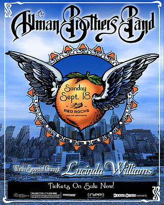 ALLMAN BROTHERS BAND/LUCINDA WILLIAMS DENVER 1994 CONCERT TOUR POSTER-Blues Rock