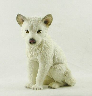 Sitting White Arctic Wolf Cub | Statue Pup Figurine | Winter Snow Wolf Puppy NEW