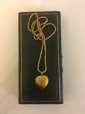 Antique Yellow Gold Ornate Heart Shaped Locket Pendant And Snake Link Chain