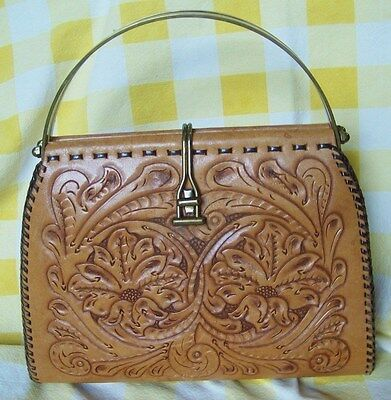 Vintage Western Tooled Leather Hand Bag Rendezvous Reenactment For Women