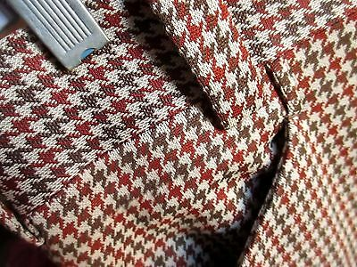 36x30 FIT Vtg 70s Mens  BROWN CHECKER PLAID POLYESTER KNIT FLARE PANTS SLACKS