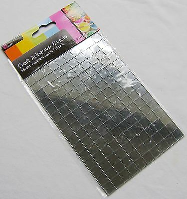New 150 Self Adhesive Glass Mirror Squares Tiles Mosaic Craft 1Cm Sil Silver