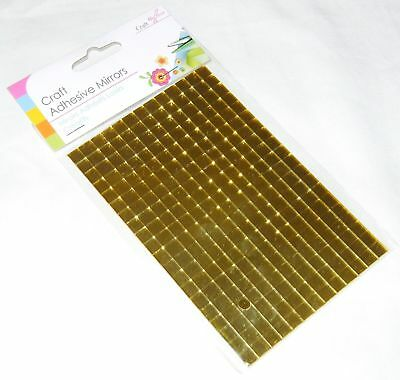 New 260 Self Adhesive Glass Mirror Squares Tiles Mosaic Craft 7Mm Sil Gold