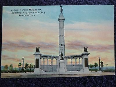 Early 1900's Jefferson Davis Monument in Richmond, Va Virginia PC